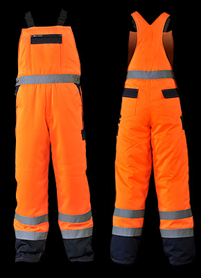 BIBWINTER - Protective dungaree trousers, warmed, made from fluorescent fabric.