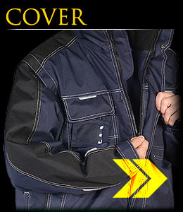 COVER - Winter jacket with sleeves which can be unfastened.