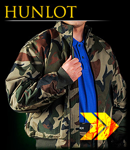 "HUNLOT - Insulated fatigue ""bomber jacket""."