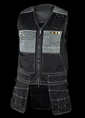 POCKER - Sleeveless vest with a large number of pockets of various sizes.