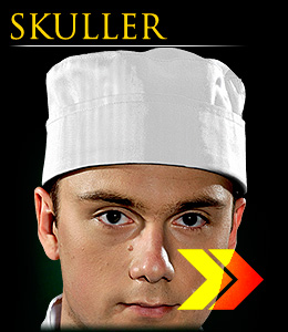 SKULLER - Short cooking hat, Chef`s Kitchen series.