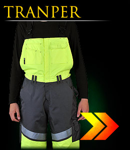 TRANPER - Insulated dungarees made of fluorescent fabric.