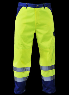 TRISPEX - Waist-high trousers made of fluorescent polyester fabric.