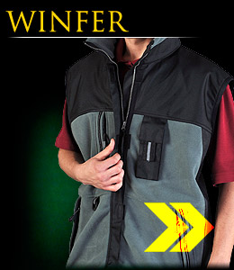 WINFER - Insulated fleece vest with additional fabric elements.
